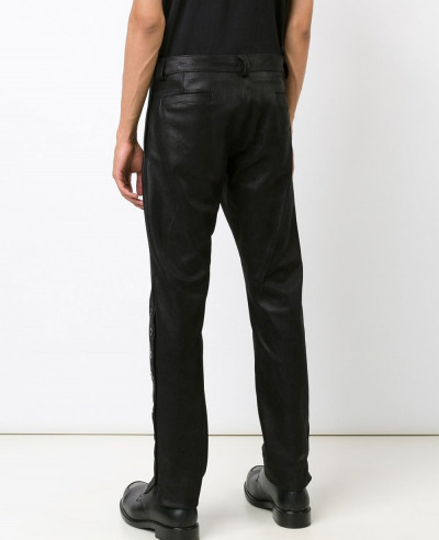 Men Synthetic Leather Slim Fit Fashion Punk Autumn Long Cargo Leather Pant