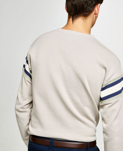 Men Stone V Neck Ribbed Sweatshirt