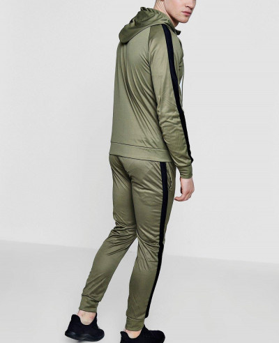 Men Stylish Skinny Contrast Panel Hooded Tracksuit