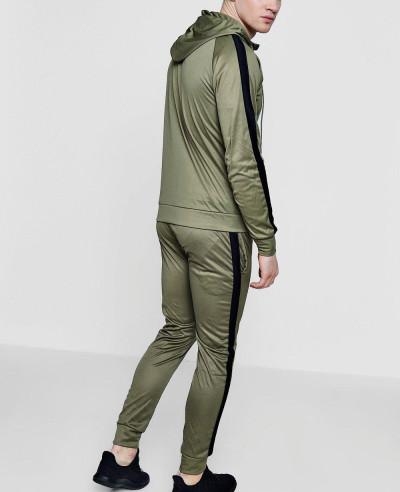 Men Stylish Skinny Contrast Panel Hooded Tracksuit