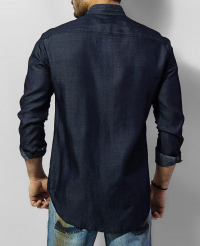 Men Tencel Denim Shirt With Mao Collar
