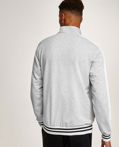 Men Track Top Full Zipper Grey Hot Sweatshirt Jacket