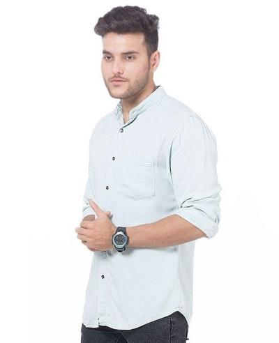 Men Very Light Green Super Soft Tencel Denim Shirt with Metal Button