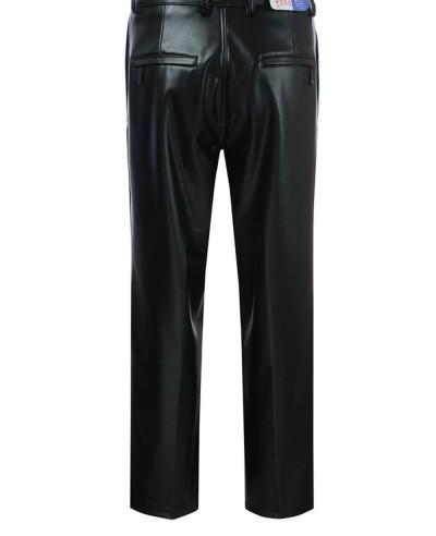 Men Vintage Winter Leather Motorcycle Slim Fit Pants Zip