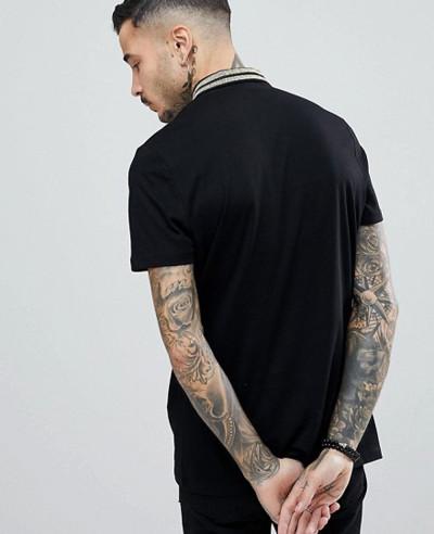 Men With Gold Metallic Collar Taping In Black Polo Shirt
