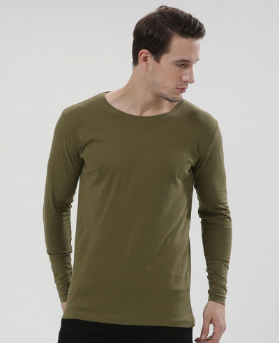 Men Yellow Long Sleeve Crew Neck Slim Fit T Shirt