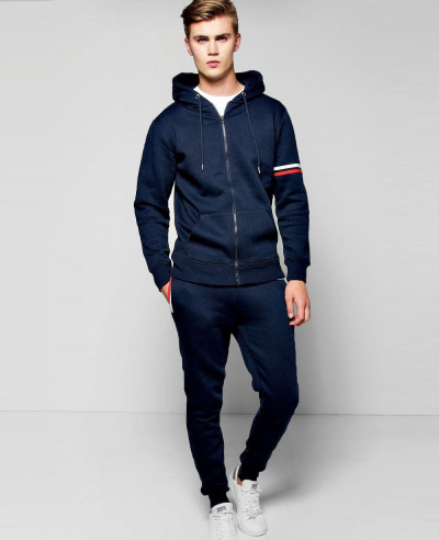 Men Zip Up Stripe Detail Skinny Tracksuit