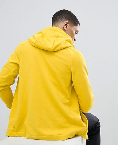 Modern Zipper Through Hoodie In Yellow