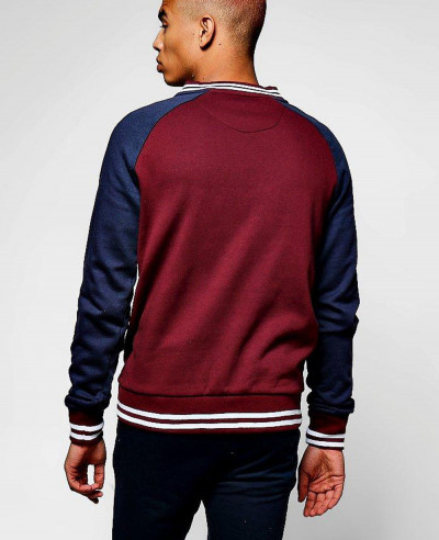 Most Selling Men Fashion Colour Block Jersey Bomber Sweat Jacket