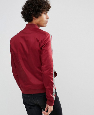 Muscle Fit Bomber Jacket With Side Stripe in Red