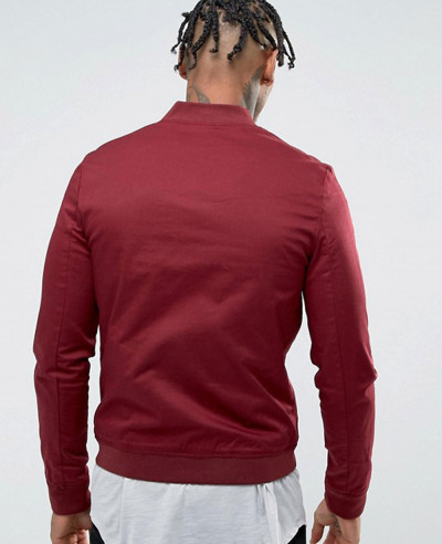 Muscle Fit Bomber Jacket With Sleeve Zipper