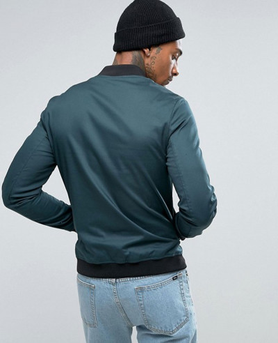 Muscle Fit Bomber Jacket With Sleeve Zipper in Bottle Green