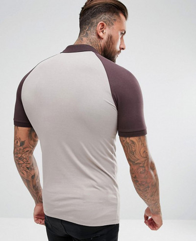 Muscle Fit Polo With Contrast Raglan