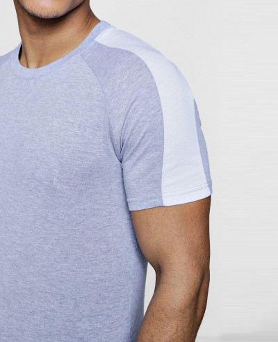 Muscle Gym Fit With Contrast Panel T Shirt