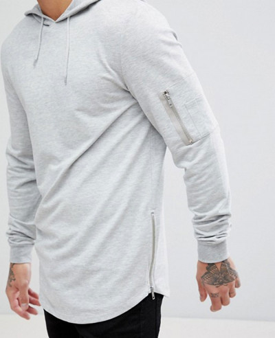 Muscle Longline With Side Zipper And Curved Hem Pockets In Grey Hoodie
