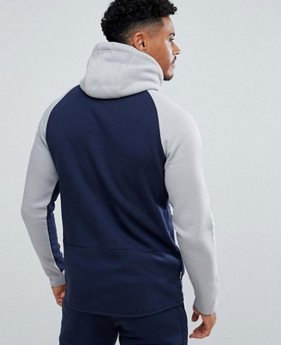 Muscle Track Hoodie In Navy With Contrast Panel