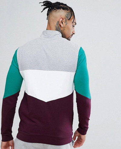 Muscle Track Jacket With Retro Colour Blocking