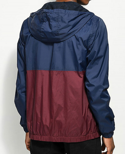 Navy & Burgundy Windbreaker Jacket