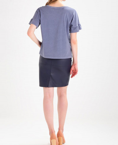 Navy-Blue-New-Style-Leather-Pencil-Skirt