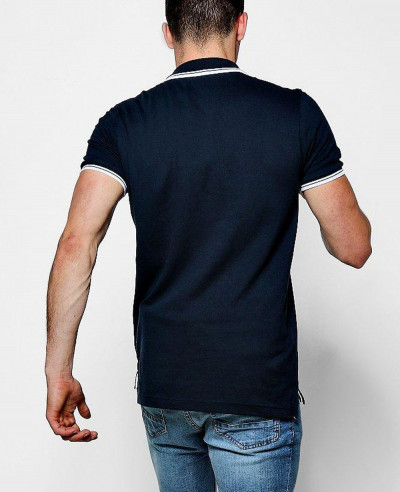 Navy Blue Short Sleeve Pique Polo With Tipping Detail