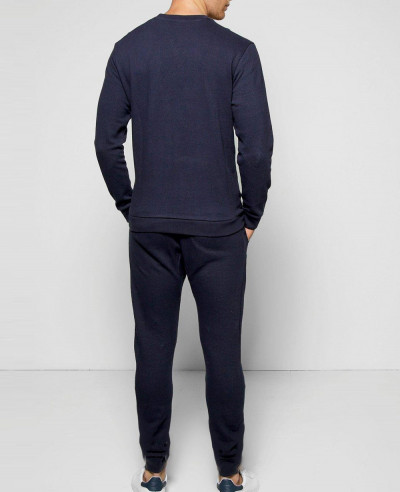 Navy Blue Sweater Tracksuit In Pique