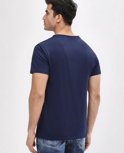 Navy Blue Short Sleeve Slim Fit Crew Neck T Shirt