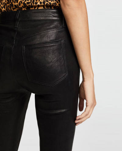 New Black High Rise Biker Leather Pant