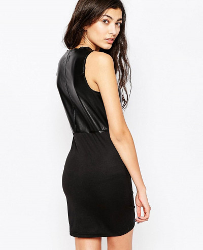 New-Cheap-Women-Fashionable-Leather-Look-Dress