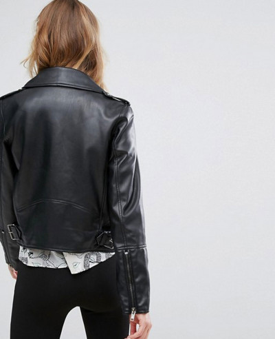 New Cowhide Faux Leather Biker Jacket