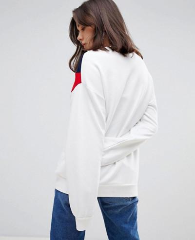 New Cotton Fleece Contrast Stripe Sweatshirt