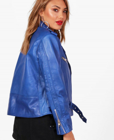 New Custom Blue Women  Leather Biker Jacket