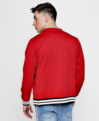 New Custom Selling Red Sports Rib Varsity Bomber Jacket