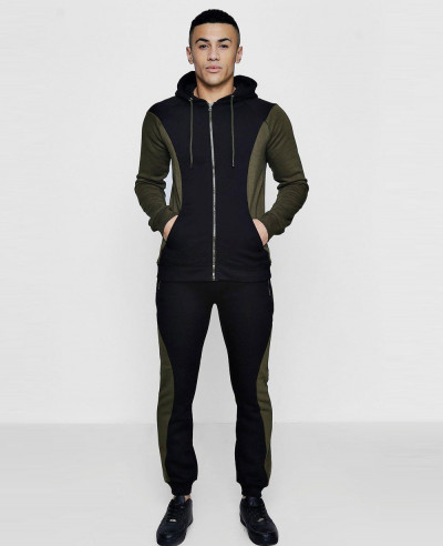New Fashionable Colour Block Zipper Hooded Tracksuit