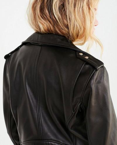 New Fashionable Faux Leather Banded Moto Jacket