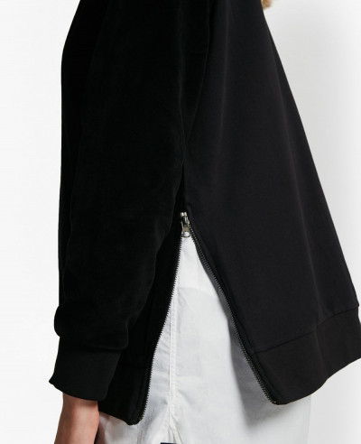 New Fashionable Side Split Zipper Black Sweatshirt