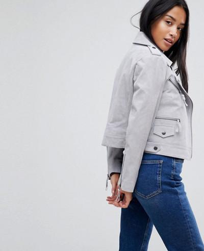 New Grey Custom Stylish Leather Suede Jacket
