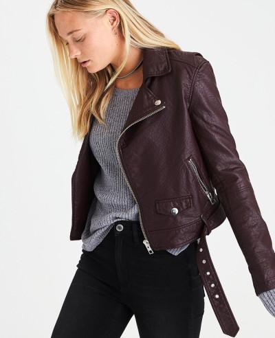 New Hot Selling Women Biker Leather Jacket