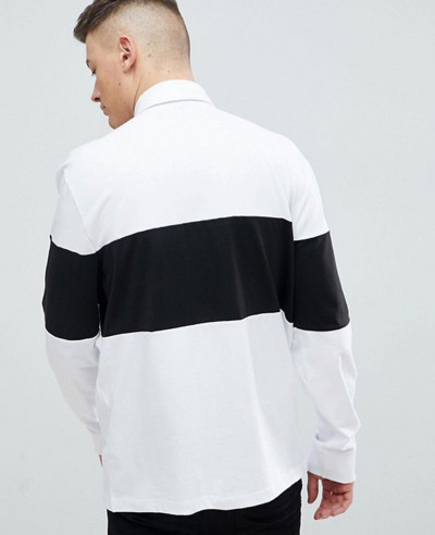 New Look Colour Block Rugby Polo In White