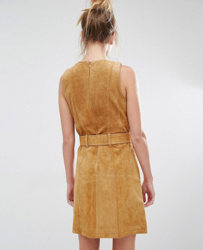 New-Look-Real-Leather-Suede-Skater-Dress