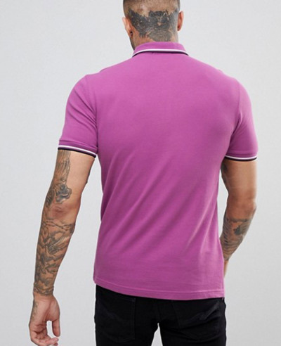 New Look Slim Fit Twin Tipped Polo Shirt In Lilac