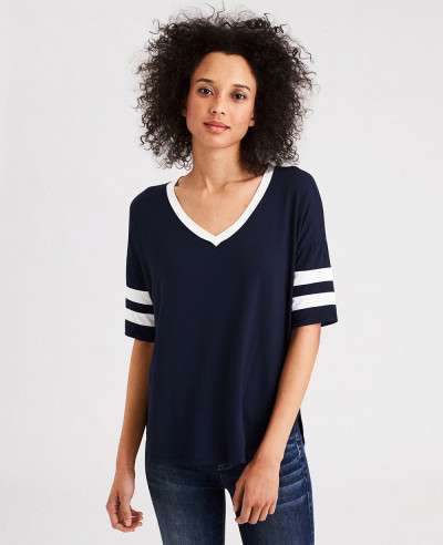New-Look-Women-Striped-Sleeve-V-Neck-T-Shirt