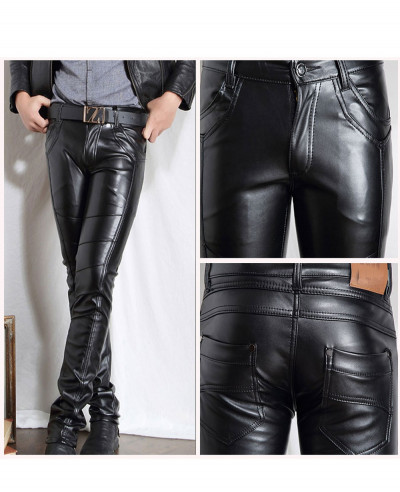 New Men Faux Leather Pants Biker Motorcycle Tight Pencil