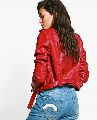 New Most Selling Crop Leather Look Biker Jacket