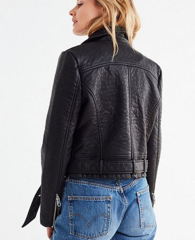 New Style Black Faux Leather Moto Jacket