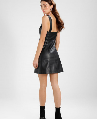 New-Style-Black-Leather-Dress