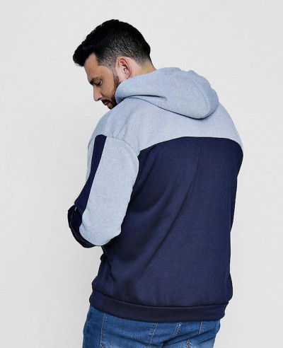New Stylish Big And Tall Colour Block Over The Head Hoodie