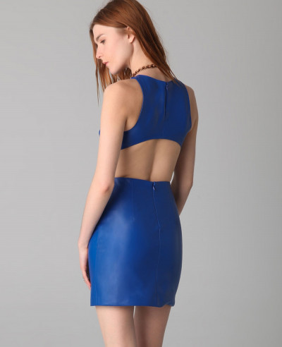 New-Stylish-Blue-Leather-Dress-with-Cutout-Back