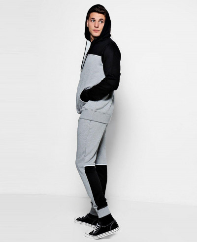 New Stylish Colour Block Hooded Tracksuit With Piping