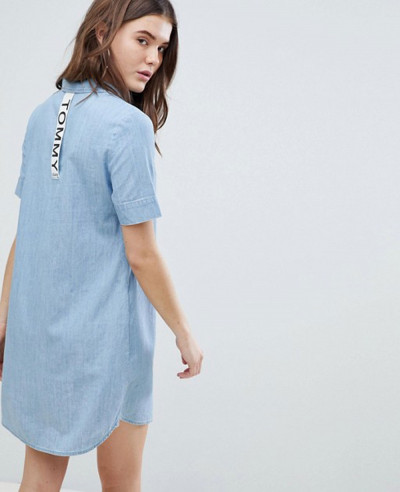 New-Stylish-Longline-Jeans-Denim-Shirt-Dress