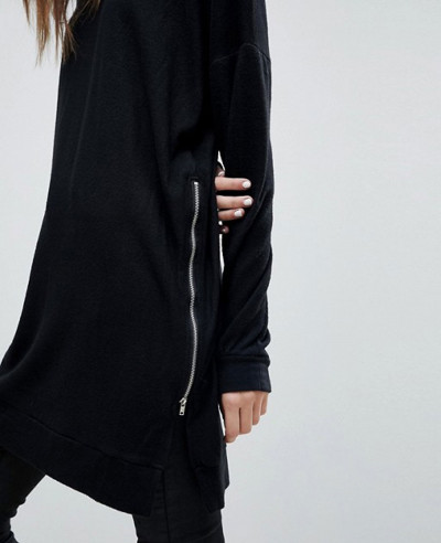 New Stylish Longline With Zipper Sweatshirt